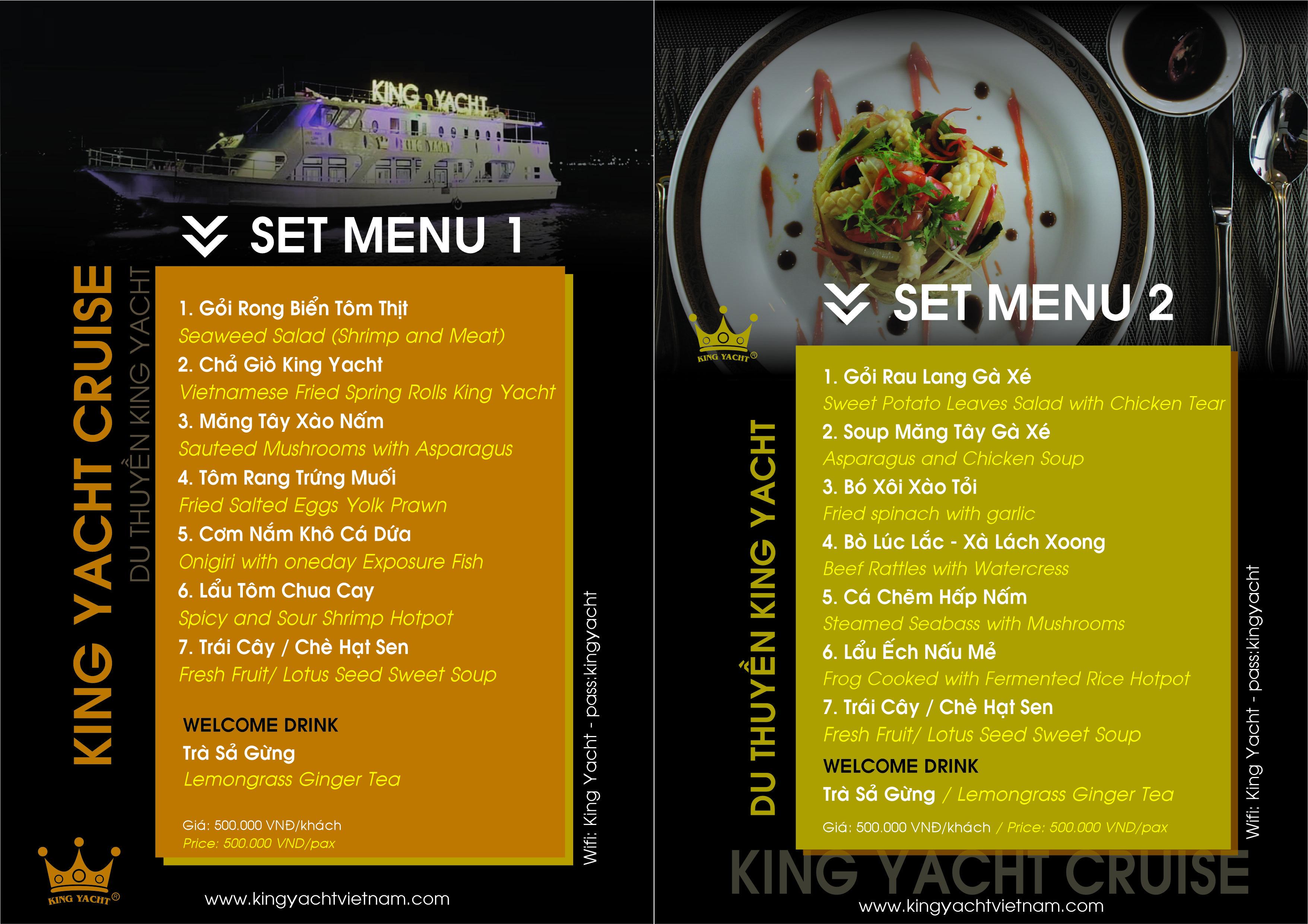 Set Menu 1 - 2 - Du thuyền King Yacht